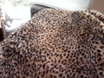 Leopard throw with leopard padded bar chair